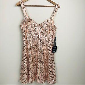 Lulus Sequin Rose Gold Blush Dress